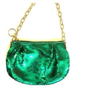 Coach teal green sequined shoulder bag